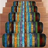 Upxiang 1 Satz 5 Stücke Stufenmatte Für Treppen, Treppenmatte, Step Mats Stair Mats, Farbe Holzdruckbodenmatte Korallen Fleece Beständig Teppich Treppengreifer Set(22 cm * 70 cm) (A)