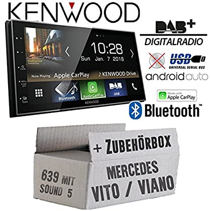Autoradio-Radio-Kenwood-DMX7018DABS-Bluetooth-DAB-Digitalradio-AndroidAuto-Apple-CarPlay-Zubehr-Einbauset-fr-Mercedes-VitoViano-639-JUST-SOUND-best-choice-for-caraudio