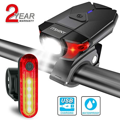 ITSHINY Ensemble d'éclairage de vélo, Kit lumière de vélo USB Rechargeable (Tout Noir)