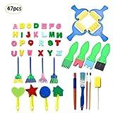 per Set de Herramientas para Dibujar para Niños Infantiles Conjunto de Brochas Pinceles Esponjas y Sellos Juguetes de Bricolaje DIY para Bebés Niños