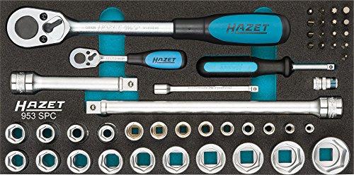 HAZET Profi-Steckschlüssel-Satz Vierkant (6,3 mm (1/4 Zoll) + 12,5 mm (1/2 Zoll), 47-teilig, mit zwei HAZET Umschaltknarren, 2-Komponenten-Weichschaum-Einlage) 953SPC