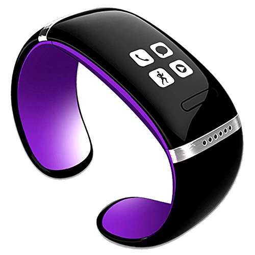 Leopard Shop nuovo L12S OLED-Pedometro-Bracciale Bluetooth con orologio, colore: (Viola Bluetooth)
