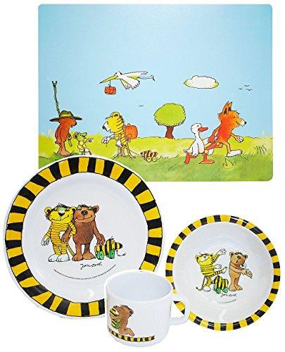 """4 tlg. Geschirrset: """" Janosch / Tigerente - Tiger & Bär """"- Melamin Set - Henkelbecher + Teller + Müslischale + Platzdeckchen - Kindergeschirr - Frühstücksset / für Jungen Mädchen - Frosch Tiger / Tiere"""