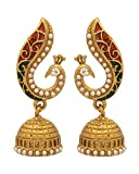 #1: Voylla Peacock Red Gold Plated Jhumki Earrings For Women