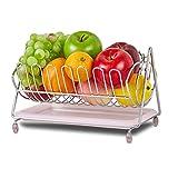 Joyousac contenitore porta frutta verdure snack Swinging ciotola in acciaio INOX, cestino per servire da frutta 28*21*16cm