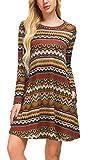 KorMei Damen Langarm Casual Tasche Loose T-Shirt Kleid A-Linie Tunika Mini Kleid Mehrfarbig M