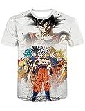 GOTH Perhk Homme Dragon Ball Tee Shirt Impression 3D à Manches Courtes Col Rond Tops Eté Anime Japonais T-Shirt DB10 M