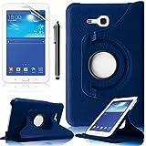 Funda Samsung Galaxy Tab 3 Lite 7.0,Azul Oscuro Elegante 360º Rotación Funda de Cuero con Soporte para Samsung Galaxy Tab 3 Lite 7.0 pulgada Tablet SM-T110 Case Cover con Multi-Vista de ángulo+ Protectores de Pantalla + lápiz óptic