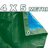 TrAdE shop Traesio Abdeckung Auto Moto Tagesdecke 4x 5Meter aus Polyethylen Wasserdicht Grün Blau