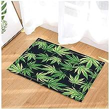Vector Decoración De Plantas Cannabis Hojas De Marihuana En Alfombras De Baño Negras Alfombra Antideslizante Entradas