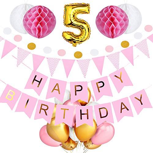 SeHan Geburtstagsdeko für Mädchen und Jungen ab 1 bis 9 Jahre, Rosa (geburtstagsdeko 5 Jahre)