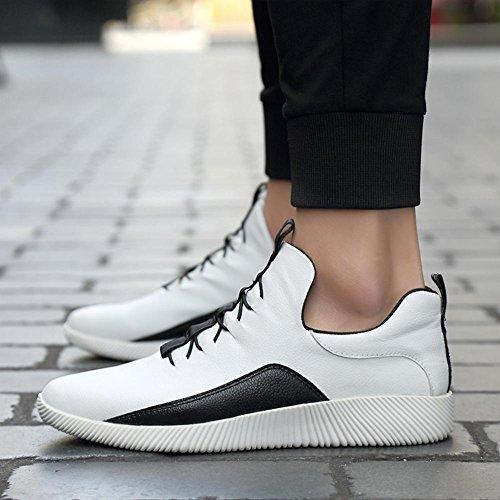 Scarpa da tennis in pelle da uomo / ragazzi scarpe sportive casual di modo leggero e facile da indossare banda elastica di scarpe Loafer White