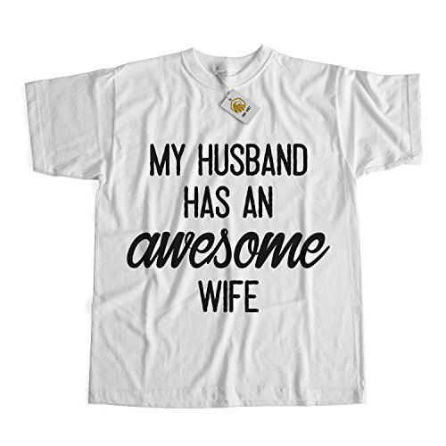 My Husband Has An Awesome Wife Ladies Funny Marriage Romance Shirt Men Women Tee Tops Grau
