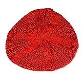 Fletion Damen Mode Winter Warme Knitted Baskenmütze Ausgebeult Barett Baumwolle Wintermütze Gestrickte Mütze Geflochtene Beanie Wollmütze, Rot