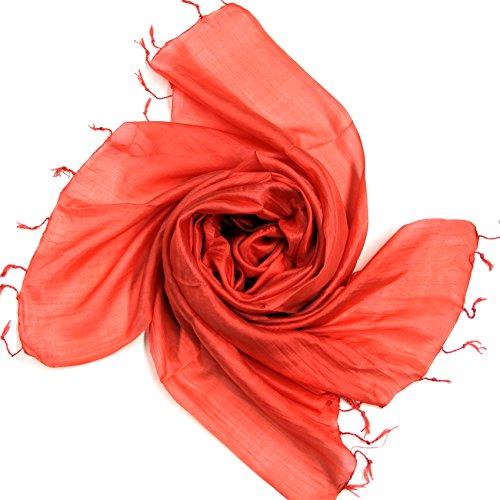 DesiDo® XXL Seidenschal Seidentuch Silk Scarf Schal Tuch Halstuch Poncho Handmade aus 100% Seide 180cm x 65cm in verschiedenen Farben (Lachsfarben)