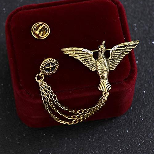 JTXZD Brosche Retro Quaste Kette Brosche für Herren Anzug Seagull Eagle Angle Wing Pins und Broschen Hemdkragen Zubehör s für Herren