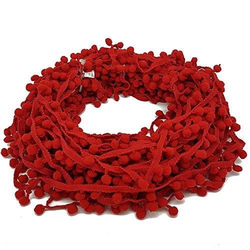 22Meter Pom Pom Trim Trimmen Nähen Craft 10mm Bobble Fransen Pompon Qualität von Zubehör Dachboden® 10 mm rot (Pelz Trim)