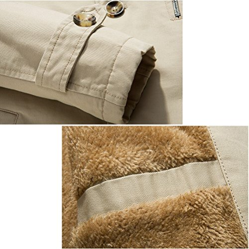 Zhuhaitf Décontractée Style Mens Faux Fur Lined Jackets Warm Coat Outerwear Kaki