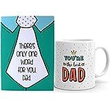 Oye Happy Best Dad Ceramic Mug with Mirror Card - Multicolour