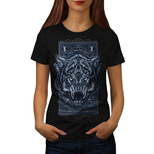 wellcoda Hungrig Blut Wolf Tier Frau T-Shirt Kunst Lässiges Design Bedrucktes T-Shirt -