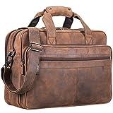 STILORD 'Atlantis' Leder Aktentasche groß Vintage Lehrertasche Arbeitstasche große Ledertasche Businesstasche zum Umhängen Trolley aufsteckbar, Farbe:missouri - braun