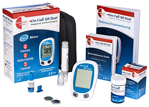 Swiss Point Of Care GK Dual azúcar en la sangre y cetonas Starter pack | 1...
