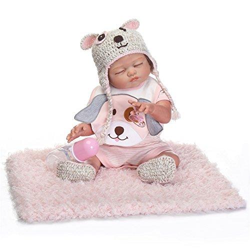 Preisvergleich Produktbild NPK Collection Reborn Baby Doll-Weich Silikon Vinyl 21inch 52 cm magnetisch Mund lebensechte Boy Girl Mädchen Spielzeug Braun bär Puppen schlafen geschlossen