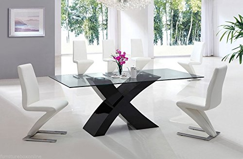 MILANO X High Gloss WHITE BLACK Glass Wood Dining Table TABLE ONLY