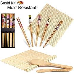 Gosear Completa Bambù Sushi Fare Kit 2 sushi Rolling Stuoie Riso Cucchiaio Riso Spandiconcime 5 coppia Bacchette