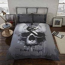 Rebel Herz Bettwäsche Bettbezug und Kissenbezüge Set Gothic Totenkopf, Grau, Single