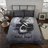 Rebel Unique Rebel Heart Grey Gothic Skull Bedding Duvet Cover & Pillowcases Set-Double