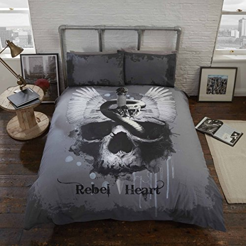 Rebel Heart Bed Duvet Cover and Pillowcase Set Gothic Skull, Grey, Single