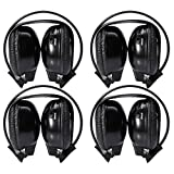 4 Pack of Zwei-Kanal Universal-Folding Rear Entertainment System Infrarot-Kopfh?rer drahtlose IR-DVD-Player Haupttelefone Headsets f¨¹r in Auto TV Video Audio Listening