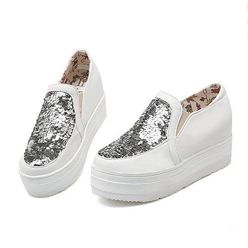 Absatz Mittler Auf Allhqfashion Pumps Rund Damen Eingelegt Weiß Ziehen Schuhe Zehe tT6tIx