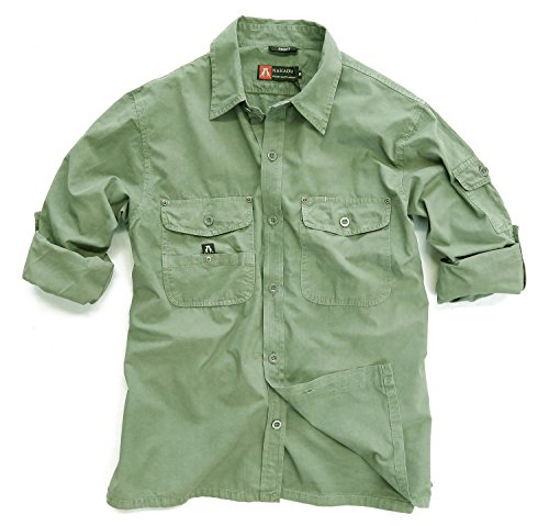 Outdoor Safari Hemd in beige und grün aus leichter Baumwolle, Langarm Shirt Moss