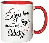 Mister Merchandise Kaffeebecher Tasse Engel ohne Flügel nennt man Schatzi Frau Partnerin Ehefrau Wife Freundin Schatz Teetasse Becher Weiß-Rot