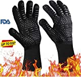 BIFY Grillhandschuhe BBQ Handschuhe 2er per Set Hitzebeständig bis 800° Ofenhandschuhe Silikon Topfhandschuhe Backhandschuhe Universalgröße Kochhandschuhe Backhandschuhe für Grill Backen Schwarz 35CM