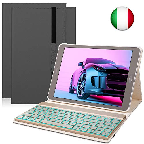 KVAGO Custodia Tastiera per Samsung Galaxy Tab S2 9.7, Italiano Tastiera Bluetooth Senza Fili con Retroilluminazione a 7 Colori e Funzione Auto Wake/Sleep, Nero