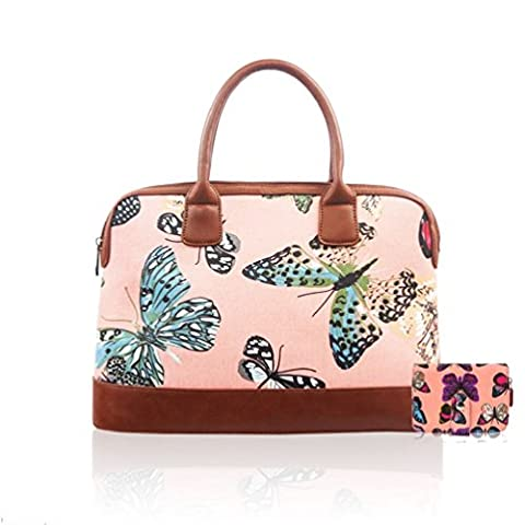 Matte Canvas Pretty Butterfly Bowler Retro Overnight Day Bag Travel Hand Luggage
