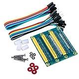 Quimat GPIO Expansion Board Erweiterungskarte für Raspberry Pi 3 2 1 Model B B+ A A+ RPI Zero W, eine Reihe zu drei Reihen GPIO, Dupont Wire 10pin Male to Female und 10pin Female to Female Breadboard Ribbon Jump Cable