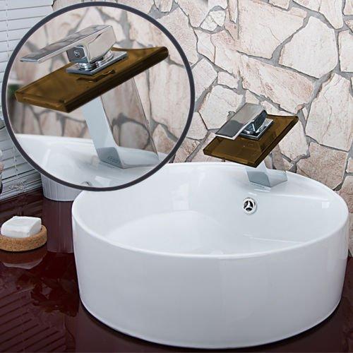 Wasserhahn Wasserfall Glas / Bad Armatur / Badezimmer Armatur w58