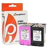 Bubprint 2 Druckerpatronen kompatibel für HP 62 XL HP 62XL HP62XL für Envy e-All-in-One aio 5540 5545 5548 5640 5660 OfficeJet 5742 Set Schwarz Farbe