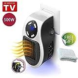 Mini Heater Chauffage pour Prise Murale 500W Espace Chauffe-eau Électrique Air Radiateur Accueil Fourneau, Fonction d'horloge (1-12 heures) (White+ Chiffon)