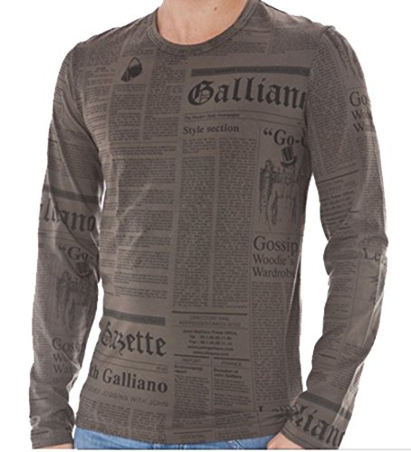 john-galliano-underwear-t-shirt-herren-gr-m-oliv-grun-newspaper