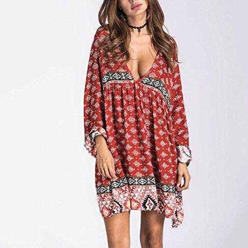 Zhhaijq Women's Bohemian Deep V-Neck Dress a maniche lunghe per Summer Beach Evening Party dress Coffee