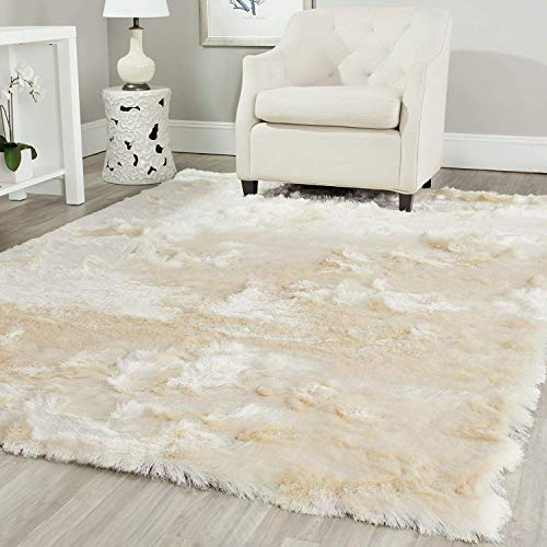 FUBON Paris Shag Collection Sg511-1212 Ivory Polyester Area Rug (3 ' X 5 ')