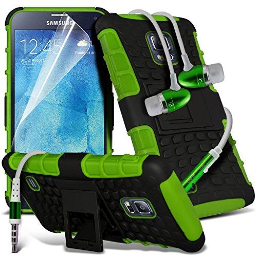 Samsung Galaxy S5 Neo hülle Tasche (Grün + Kopfhörer) Slim-Fit-Abdeckung für Samsung-Galaxie-S5 Neo-hülle Tasche Haltbarer S Linie Wellen-Gel-Kasten-Haut-Abdeckung + mit Aluminium Earbud Kopfhörer, Po Shock proof + Earphone (Green)