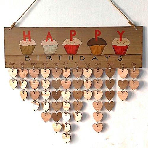 Family Birthday Board - kreative DIY Holz Erinnerung Board - Kalender Zeichen Plaque - das perfekte Geschenk - Geburtstag / Newlywed / Valentinstag / Jubiläum (A)