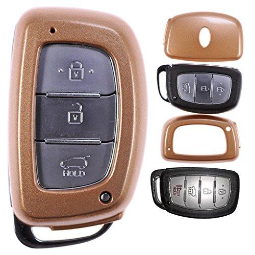 Auto Schlüssel Hülle Hartschale Cover Gold für Hyundai Tucson i40 i10 i20 ix35 Gold Sonata