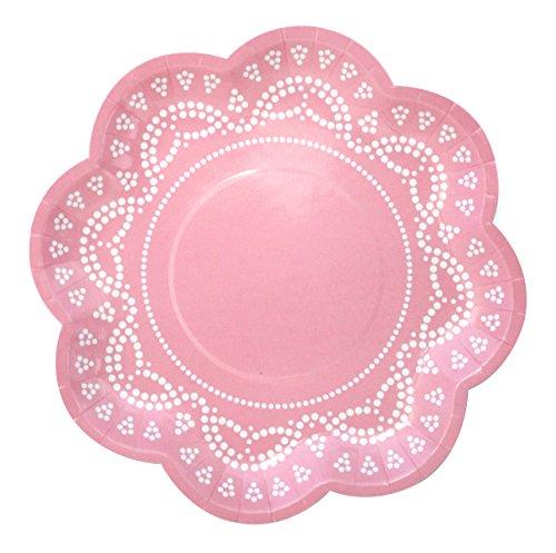 10 Blumen-Förmige Papp-Teller mit Weißem Spitzen-Perlen-Muster in Rosa